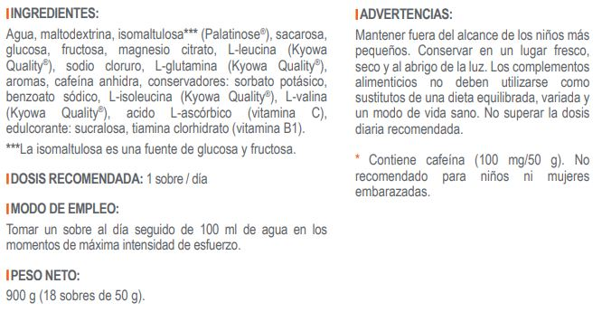 Ingredientes ND4 Cross UP Cafeína 100 mg Infisport
